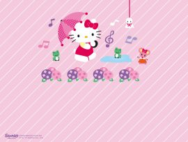 Papel de parede Hello Kitty – Chuva