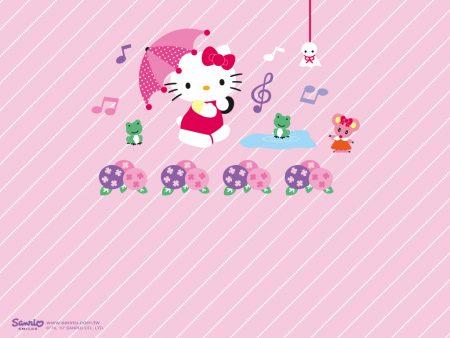 Papel de parede Hello Kitty – Chuva para download gratuito. Use no computador pc, mac, macbook, celular, smartphone, iPhone, onde quiser!