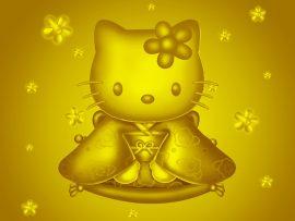Papel de parede Hello Kitty – Dourada
