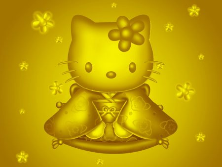 Papel de parede Hello Kitty – Dourada para download gratuito. Use no computador pc, mac, macbook, celular, smartphone, iPhone, onde quiser!