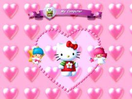 Papel de parede Hello Kitty Corações