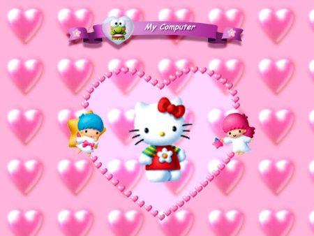 Papel de parede Hello Kitty Corações para download gratuito. Use no computador pc, mac, macbook, celular, smartphone, iPhone, onde quiser!