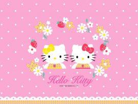 Papel de parede Hello Kitty Flores