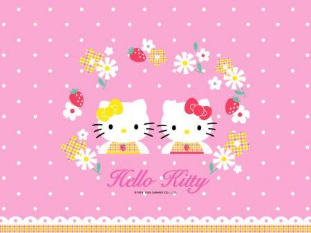 Papel de parede Hello Kitty Flores para download gratuito. Use no computador pc, mac, macbook, celular, smartphone, iPhone, onde quiser!