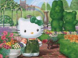 Papel de parede Hello Kitty Jardineira