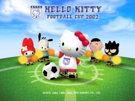 Papel de parede Hello Kitty Jogando Futebol #2