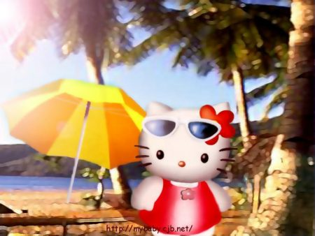 Papel de parede Hello Kitty Na praia para download gratuito. Use no computador pc, mac, macbook, celular, smartphone, iPhone, onde quiser!