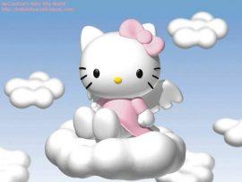 Papel de parede Hello Kitty nas nuvens
