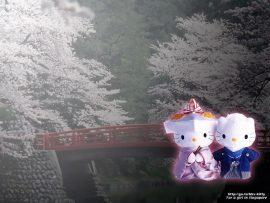 Papel de parede Hello Kitty Oriental