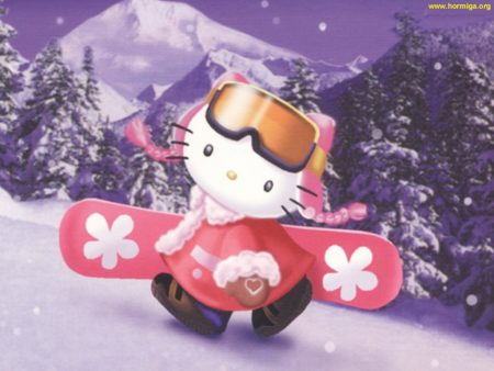 Papel de parede Hello Kitty Snowboard para download gratuito. Use no computador pc, mac, macbook, celular, smartphone, iPhone, onde quiser!