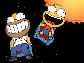 Papel de parede Homer e Bart no Espaço