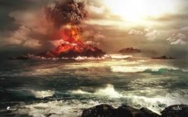 Papel de parede Ilha Com Vulcão