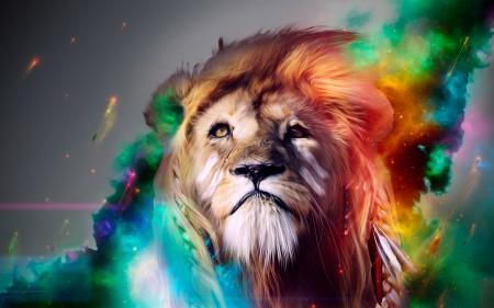 Papel de parede Leão Colorido para download gratuito. Use no computador pc, mac, macbook, celular, smartphone, iPhone, onde quiser!