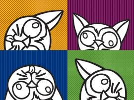 Papel de parede Gatos Coloridos