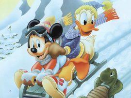 Papel de parede Mickey e Donald de Trenó