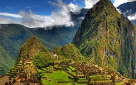 Papel de parede Montanha Huayna Picchu, Ruínas de Machu Picchu, Perú