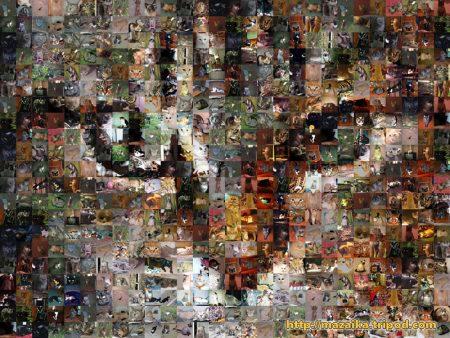 Papel de parede Mosaico Gato para download gratuito. Use no computador pc, mac, macbook, celular, smartphone, iPhone, onde quiser!