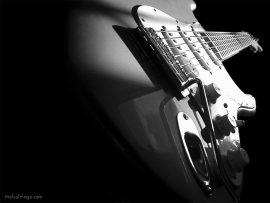 Papel de parede Música – Guitarra Preto e Branco