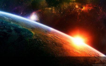 Papel de parede Nascer do Sol no Espaço para download gratuito. Use no computador pc, mac, macbook, celular, smartphone, iPhone, onde quiser!