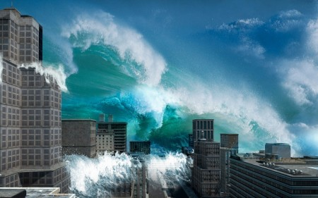 Papel de parede Onda Gigante na Cidade para download gratuito. Use no computador pc, mac, macbook, celular, smartphone, iPhone, onde quiser!