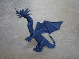 Papel de parede Origami – Grande Dragão Azul