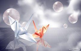 Papel de parede Origami – Tsuru branco e vermelho