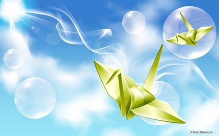 Papel de parede Origami – Tsuru Verde para download gratuito. Use no computador pc, mac, macbook, celular, smartphone, iPhone, onde quiser!