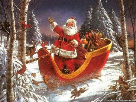 Papel de parede Papai Noel na Floresta para download gratuito. Use no computador pc, mac, macbook, celular, smartphone, iPhone, onde quiser!