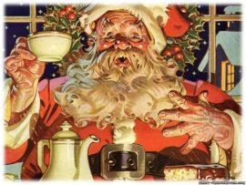 Papel de parede Papai Noel tomando café