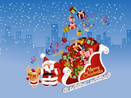 Papel de parede Papai Noel e o Trenó para download gratuito. Use no computador pc, mac, macbook, celular, smartphone, iPhone, onde quiser!