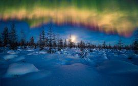 Papel de parede Aurora Boreal de inverno