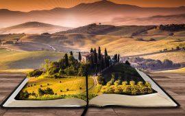 Papel de parede Livro paisagem 4K