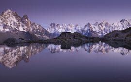 Papel de parede Montanhas de reflexões de cabine 4K