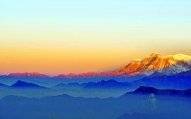 Papel de parede Nascer do sol montanhas 5K