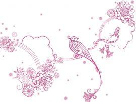 Papel de parede Pássaros – Rosa e Delicado