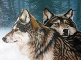 Papel de parede Pintura de Lobos