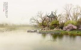 Papel de parede Pintura Encosta de Lago Chinês