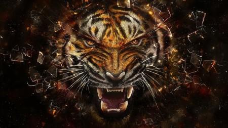 Papel de parede Tigre Digital para download gratuito. Use no computador pc, mac, macbook, celular, smartphone, iPhone, onde quiser!