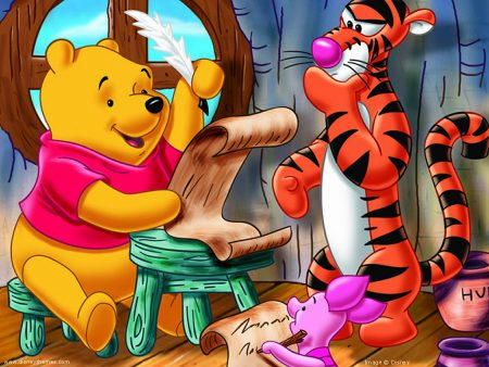 Papel de parede Pooh – Escrevendo para download gratuito. Use no computador pc, mac, macbook, celular, smartphone, iPhone, onde quiser!