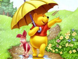 Papel de parede Pooh – Guarda-chuva