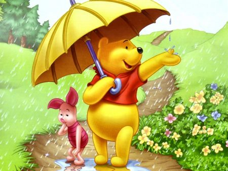 Papel de parede Pooh – Guarda-chuva para download gratuito. Use no computador pc, mac, macbook, celular, smartphone, iPhone, onde quiser!