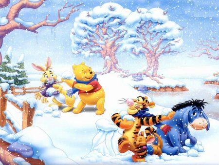 Papel de parede Pooh – No Inverno para download gratuito. Use no computador pc, mac, macbook, celular, smartphone, iPhone, onde quiser!