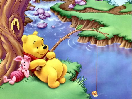 Papel de parede Pooh – Pescando para download gratuito. Use no computador pc, mac, macbook, celular, smartphone, iPhone, onde quiser!