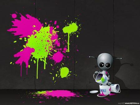 Papel de parede Robô – Pintor para download gratuito. Use no computador pc, mac, macbook, celular, smartphone, iPhone, onde quiser!