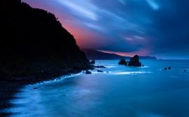 Papel de parede Fim do Dia com Céu e Mar Azul