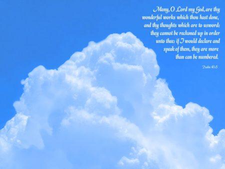Papel de parede Salmo 40:5 – Nuvens para download gratuito. Use no computador pc, mac, macbook, celular, smartphone, iPhone, onde quiser!