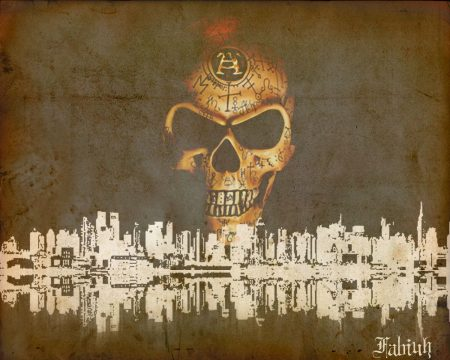 Papel de parede Skull Over City para download gratuito. Use no computador pc, mac, macbook, celular, smartphone, iPhone, onde quiser!