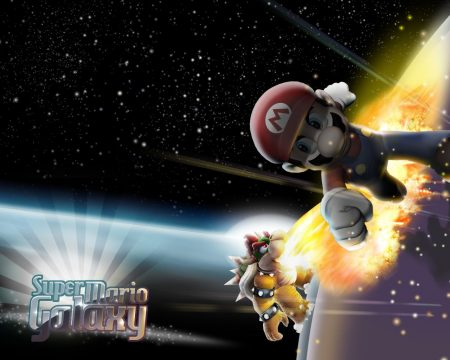 Papel de parede Super Mario Galaxy – Koopa e Mario para download gratuito. Use no computador pc, mac, macbook, celular, smartphone, iPhone, onde quiser!