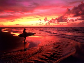 Papel de parede Surfe ao Crepúsculo, Havaí