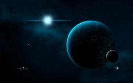 Papel de parede Terra e Lua no Espaço